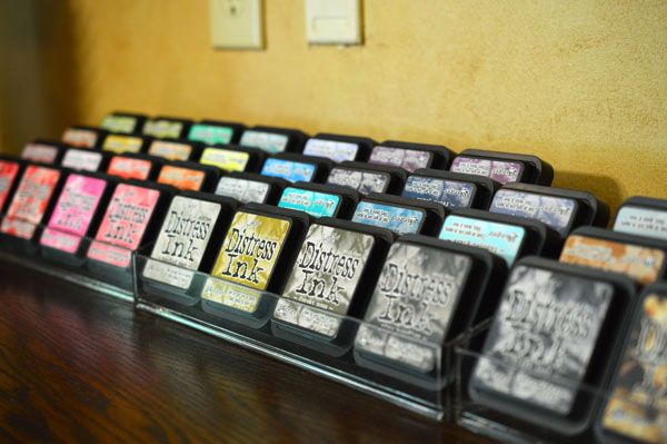 Distress Ink Pad Storage - Darlene's Distress Ink Pad storage idea. Nail Polish holders Holds 16 pads.
