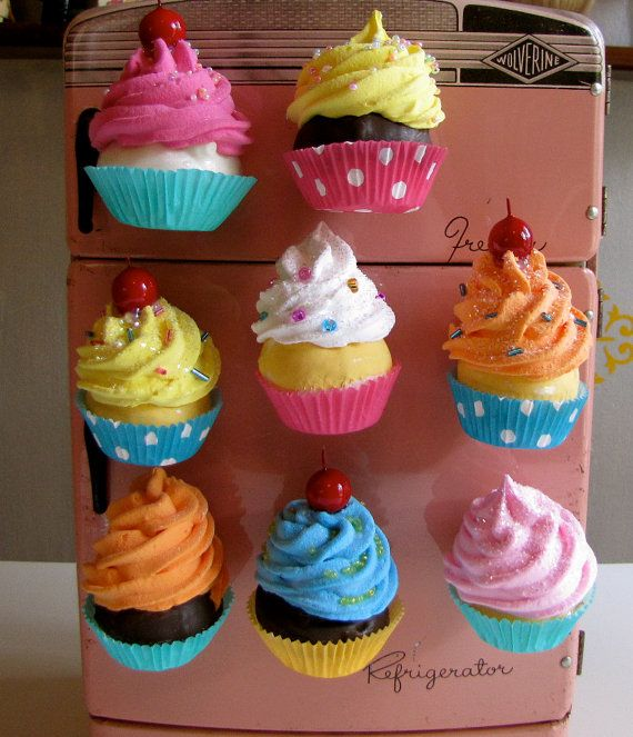 Fake Cupcake Swirly Twirly Magnets Your Choice Of Three Mini Cupcake Magnets Great For Fridge Office Bakery Little Girls Room Etc