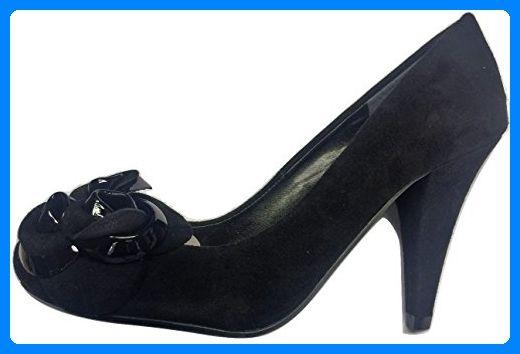 Dune schwarz Echt Wildleder Patent Corsage Pumps, schwarz - schwarz (black) - Größe: 37 EU - Damen pumps (*Partner-Link)