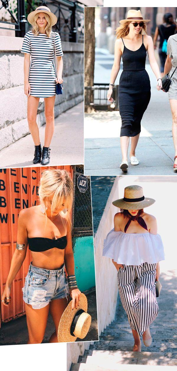 Street style look com chapéu palha.