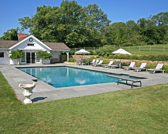 17 best ideas about rectangle pool on pinterest backyard for Farmhouse with swimming pool