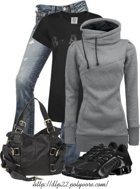 Stylish winter dress for women. I love the sweatshirt!
