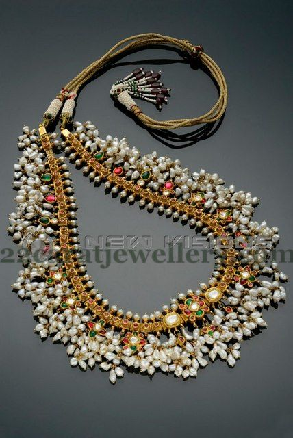 Gutta Pusalu Set by Shankarlal Jewellers not a beaded necklace, but could be fun to translate with my pearl chips