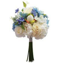 Cream and Blue Peony, Hydrangea and Thistle Stem Bundle By Ashland®