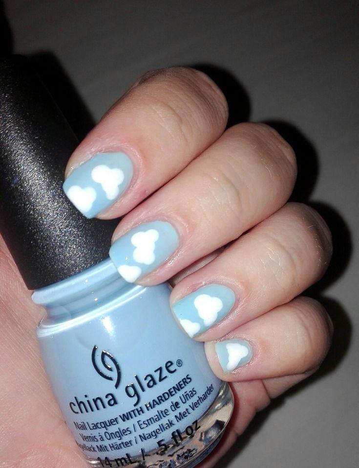 #nails #nail #naiart #naildesign #cute #pretty #manicure #clouds #blue #cloudnails
