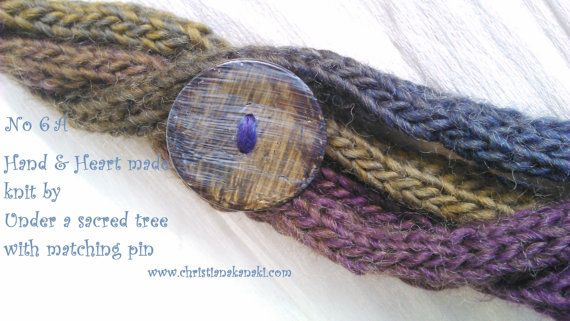 Hand & Heart knitted necklace with matching pin ~ Charged with Reiki ~ No 6A Olives/Jeans/Purple ~ Statement necklace