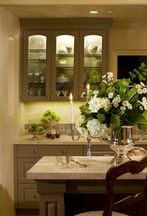 Mueller Nicholls: Amazing kitchen with gray glass-front kitchen cabinets & kitchen island, marble ...