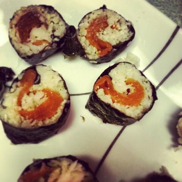 #Ashy Bines recipe... Sushi!  Grate 1/4 cauliflower into a pan with sesame seed oil. Cook cauliflower. Lay on seaweed sheet, lay smoked salmon in the middle, roll and cut and you're good to go!