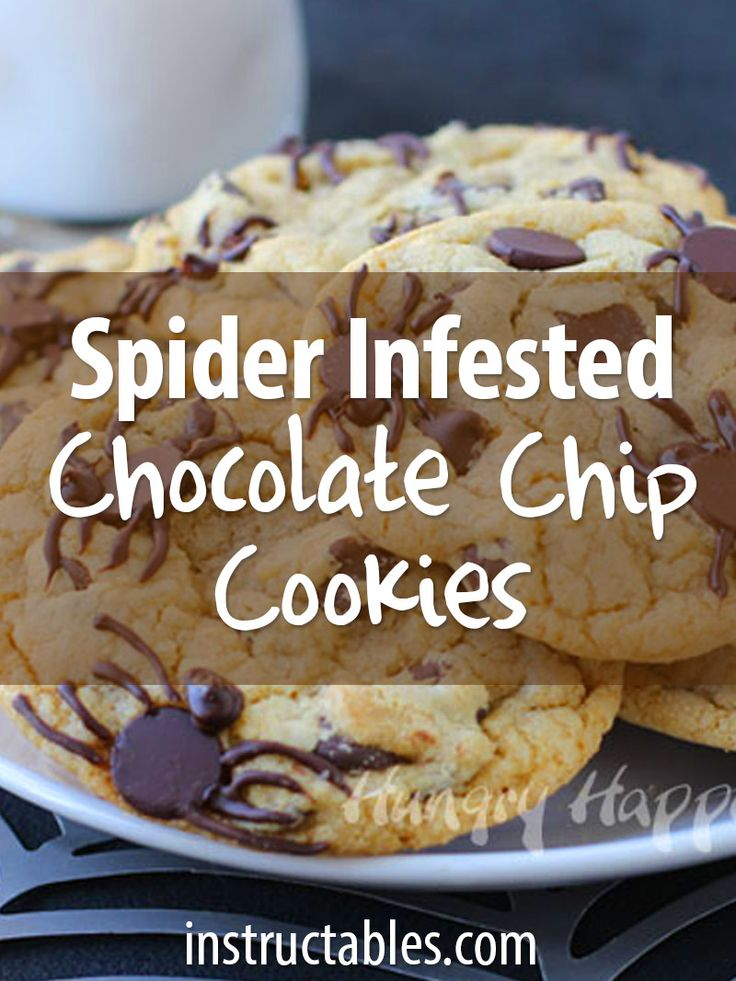 a perfectly innocent batch of chocolate chip cookies can be turned into a creepy halloween treat - Halloween Chocolate Spiders