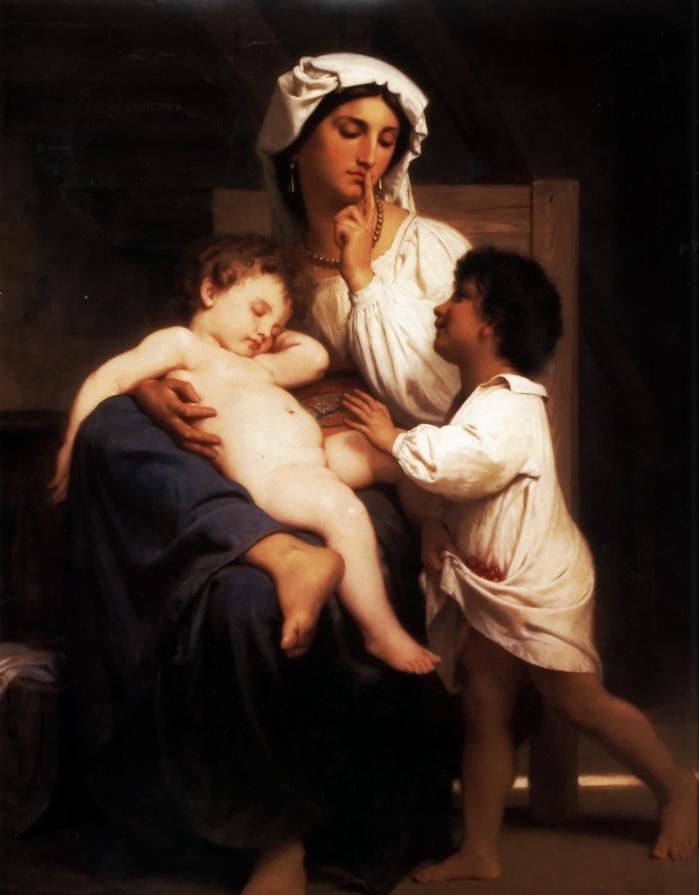 < asleep at last >, 부게로, 1864.   둘 째 아이가 생기게 되면, 사랑을 차지하기 위한  첫 째 아이의 애교가 시작되는 것 같다. 첫 째를 서운하지 않게 하면서도 둘 째를 이뻐하려면 어머니의 노하우가 필요해진다. 어머니에게 안기려는 것인지, 동생을 보려는 것인지 모르겠지만, 다가서는 아이에게 어머니는 조용히라는 눈빛을 보낸다. 쉿!이 아니라 쉿~   아이를 돌보는 것은 예로부터 어머니의 몫이었다. 누군가 열 자식을 키우면 배우지 않아도 세상에 대해 알게 된다고 했던 기억이 난다.