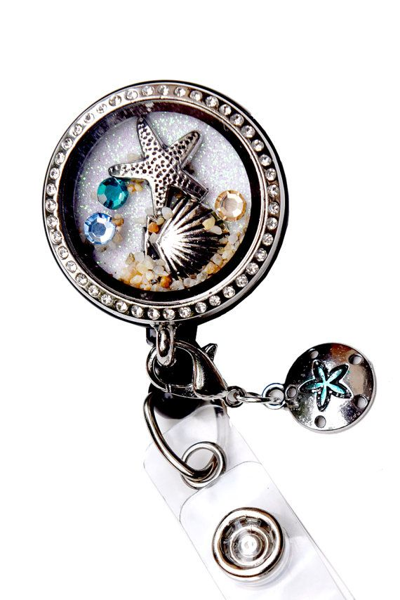 Seashell and  Starfish RN Nurse Floating Charms Memory Locket Retractable Badge Reel ID Badge Holder