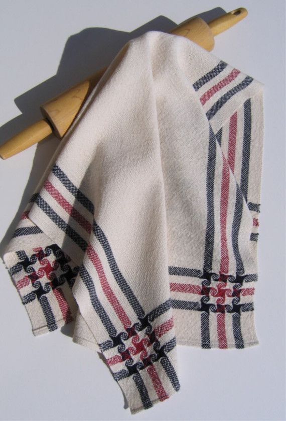 Handwoven Towel Kitchen or Bath Stars and Stripes