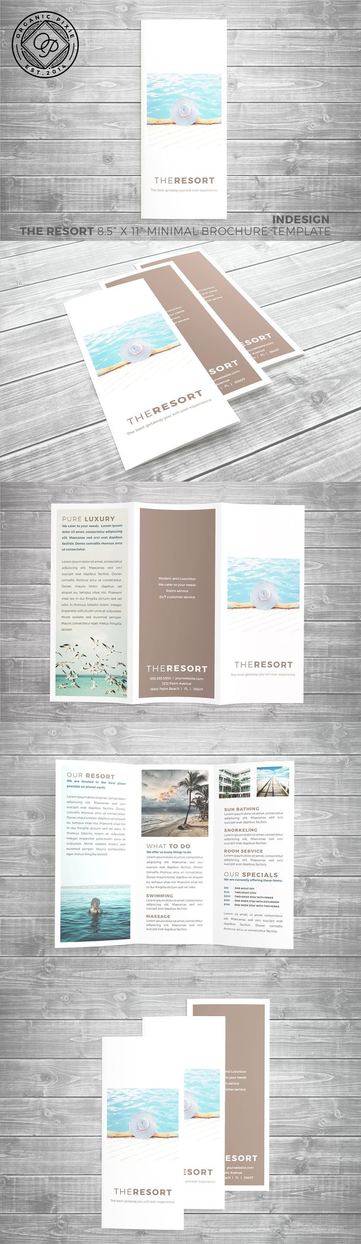 "This is an easy to use turn key vertical brochure design template in InDesign. Included are all the photos that are FREE to use downloaded from pixabay.com with no restriction.This brochure feels luxurious and has an ""apple"" type design without breaking the printing budget. This is a three panel print-ready standard sized brochure template. 8.5"" x 11"" flat folded Tri-fold. Easily export for print and upload to Vistaprint, Overnight Prints, Moo, etc..."
