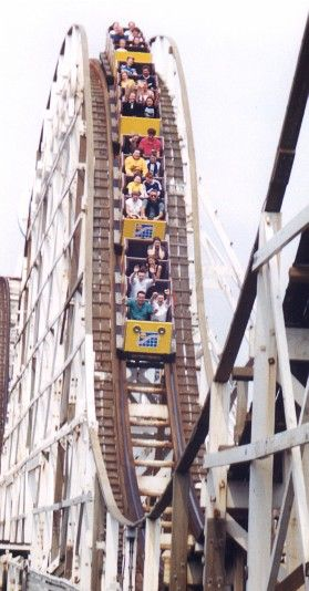 Big Dipper, Pleasure Beach Blackpool, Blackpool, England A wooden out and back roller coaster. The ride was first built in 1923 by John Miller but was extended in 1936 by Charlie Paige and Joe Emberton; adding arches over the south entrance of the park and additional drops. In August 1998, Richard Rodriguez set a world record by riding the Big Dipper for over 1000 hours. There is a plaque commemorating his achievement in the ride's station.