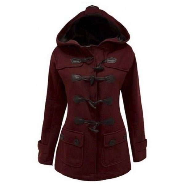 Women's Plus Size Long Sleeve Double Breasted Pea Coat Hoodie Winter... (£36) ❤ liked on Polyvore featuring outerwear, coats, jackets, winter, plus size pea coat, double breasted peacoat, plus size peacoat, red peacoat and red pea coat