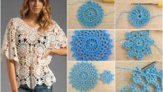 Yuvarlak Motifli  Örgü Elbise Yapımı – Yurvarlak Motifli elbise modelelri