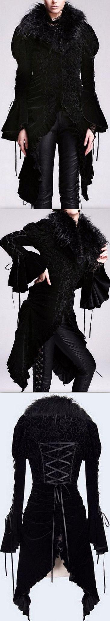Black Embroidered Velvet-Trim Faux-Fur Asymmetric Coat