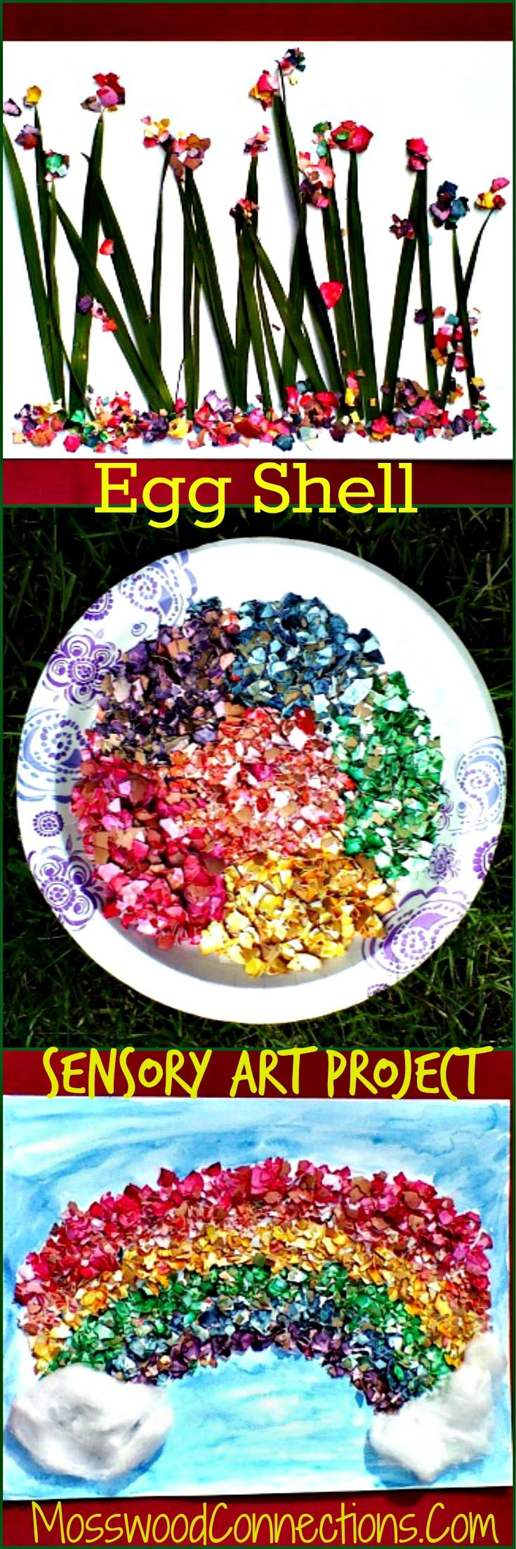 Egg Shell Sensory Art Project Use eggshells to have a fun sensory experience while creating art.