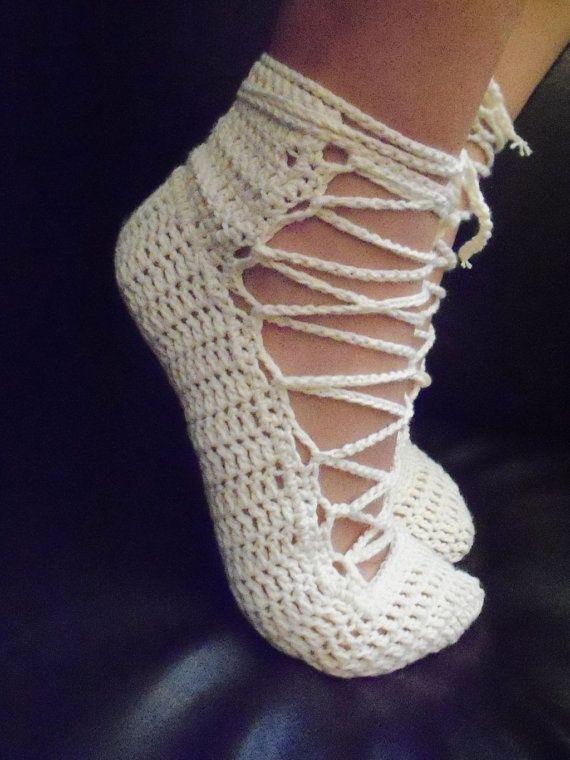 Irish crochet home slippers