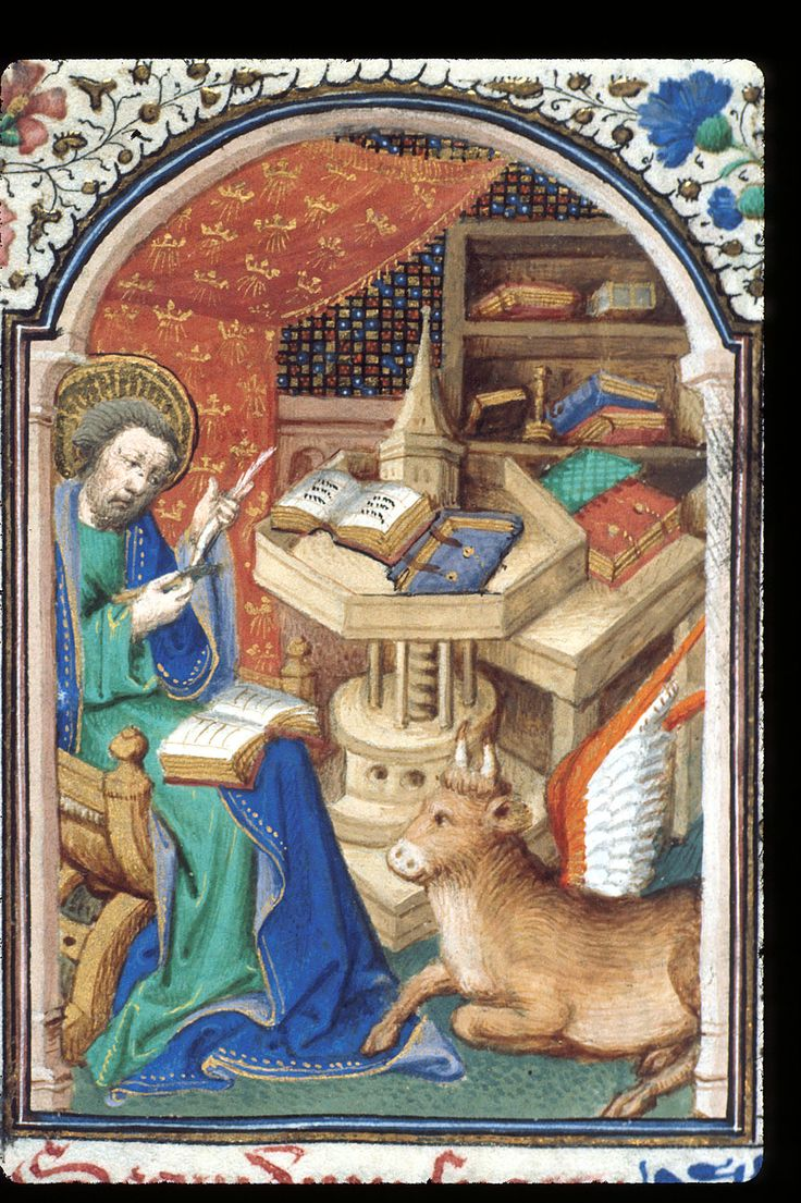 Detail of a miniature of St.Luke seated at a table and mending his quill pen with a knife, with his symbol, the winged ox, by his side - The British Library