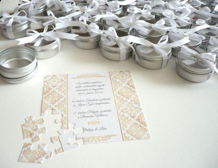 puzzle weddign invitation card