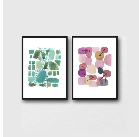 set of 2 Abstract Watercolor paintings green by LouiseArtStudio