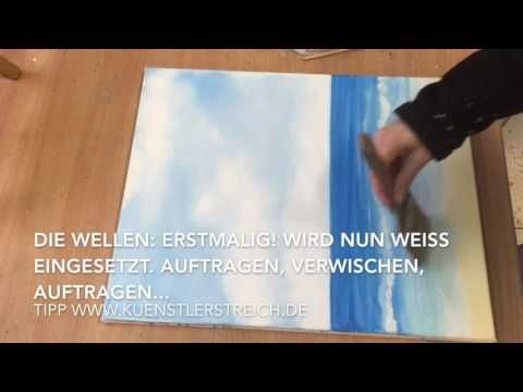 Meer Wolken malen, mit Acryl, Anleitung, Tutorial, Lasurtechnik,