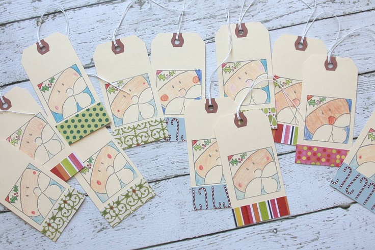 gift tags: one stamp, shipping tag and scraps!: Ships Tags, Gifts Ideas, Gift Tags, Christmas Decor, Art Tags, Tags Stamps, Christmas Tags, Gifts Tags, Christmas Ideas