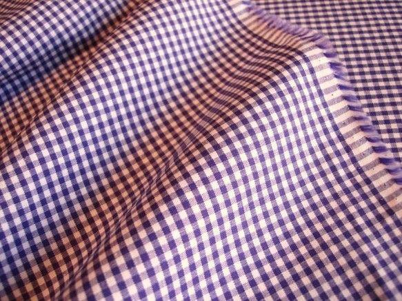 ギンガムチェックのハギレ 綿100%白×パープル◆布幅:約114cm × 丈:2.55m ほどシャツやブラウス、小物など。。。 ハンド...|ハンドメイド、手作り、手仕事品の通販・販売・購入ならCreema。