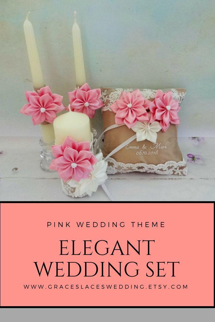 Wedding Set, Pink Wedding Candles, Elegant Unity Candles, Wedding ...