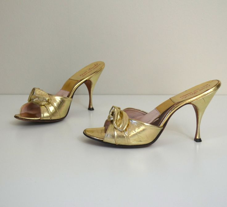 Marilyn | Vintage 50s Gold Slipper Stilettos | 1950s Metallic Cocktail Heels 6.5 by RevengeOfTheDress on Etsy