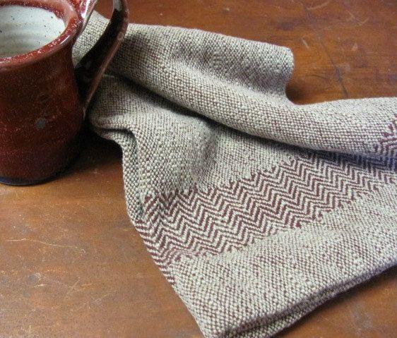 Chefu0027s Towel, Hand Woven Cranberry Red U0026 Khaki Cotton, Herringbone Borders  Via Etsy.