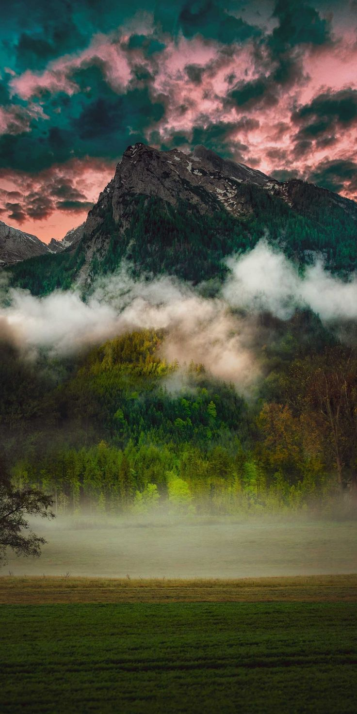 Mountain, fog, clouds, nature, 1080×2160 wallpaper