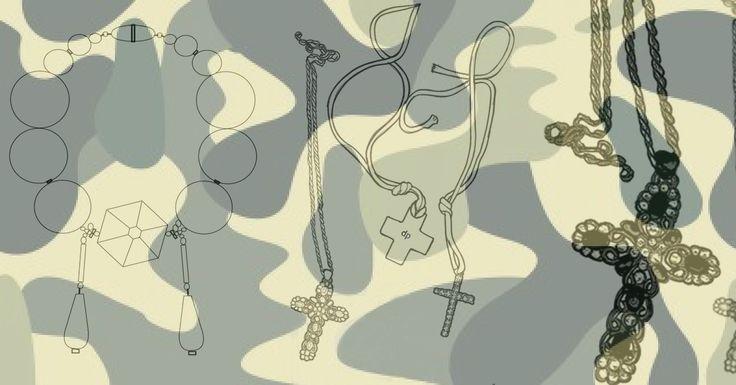 costume jewelry illustration by DpK fashion design studio #cross #necklace #stones #jewelry #costumejewelry #accessories #fashion