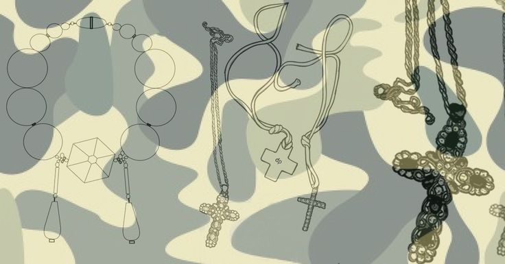 costume jewelry illustration  by DpK fashion design studio  #cross #necklace #stones