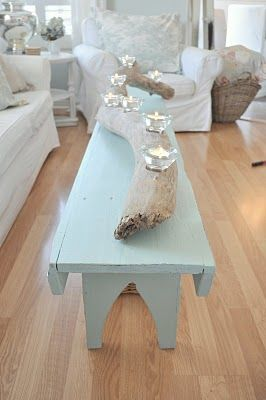Beach Chic Aqua Farm Style Bench - Fox Hollow Cottage. I need a piece of driftwood!