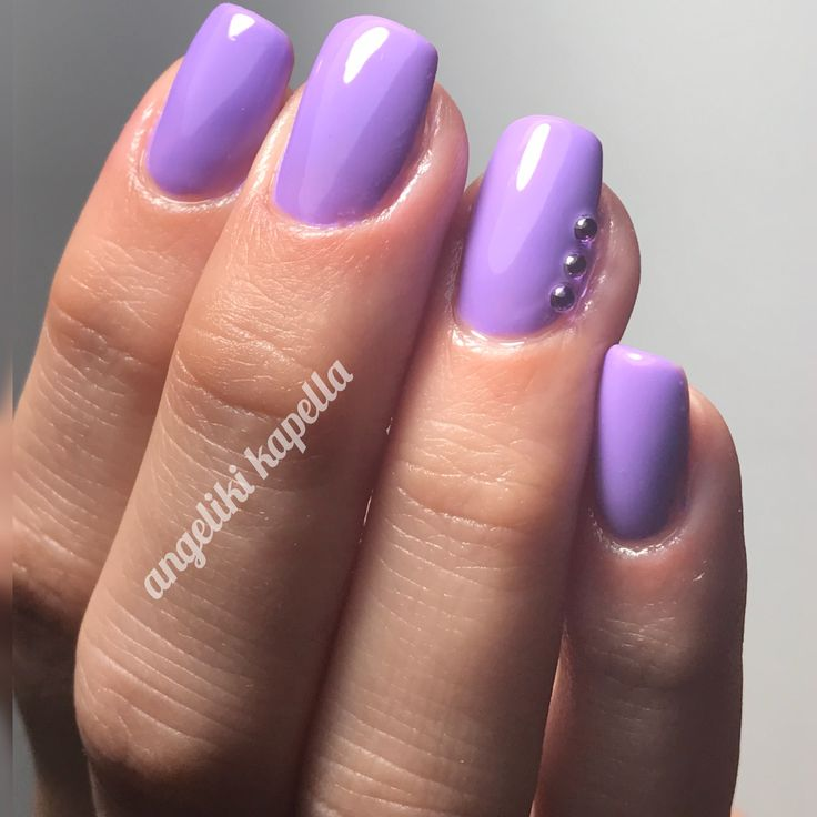 Purple nails acrylic square, Swarovski strass