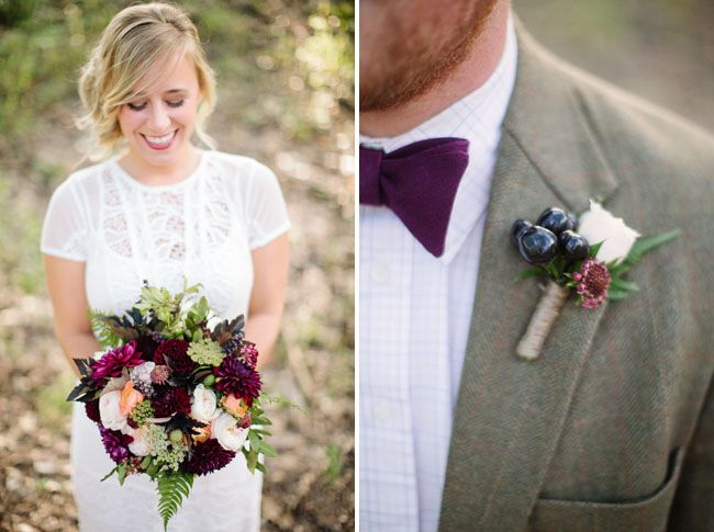 Eggplant Linen bow tie by Fox & Brie | Fall Woodland Wedding Inspiration | via Green Wedding Shoes