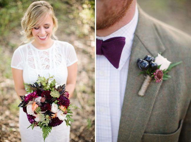 Eggplant Linen bow tie by Fox & Brie   Fall Woodland Wedding Inspiration   via Green Wedding Shoes