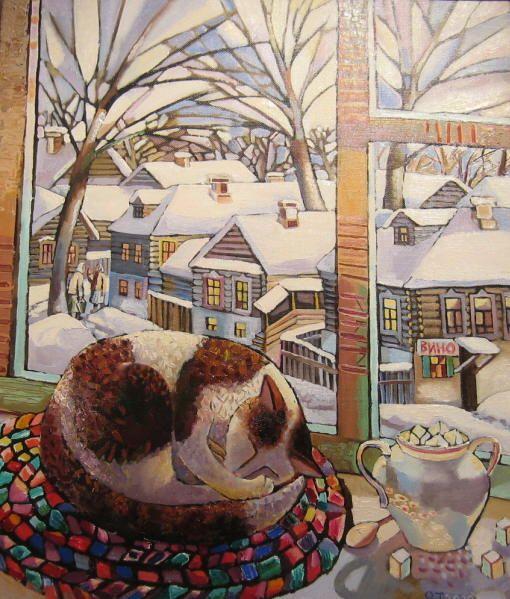 Cat in the window painting. Olga Trushnikova - Snowy Winter in the Village