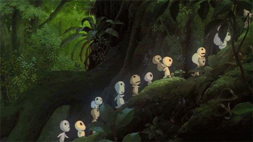 Les kodamas (ou sylvains) de Princesse Mononoke.