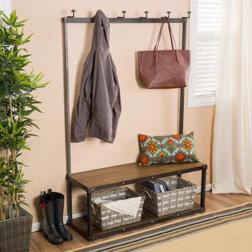 """Features:  -Storage for shoes.  -6 Hooks for coats or bags.  -Industrial contemporary style.  Material: -Metal.  Hardware Material: -Iron. Dimensions:  Overall Height - Top to Bottom: -70.85"""".  Overal"""