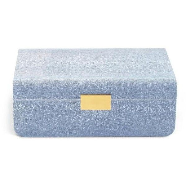 Modern Shagreen Large Jewelry Box found on Polyvore featuring home, home decor, jewelry storage, modern home decor, modern home accessories, modern jewelry box and mod home decor