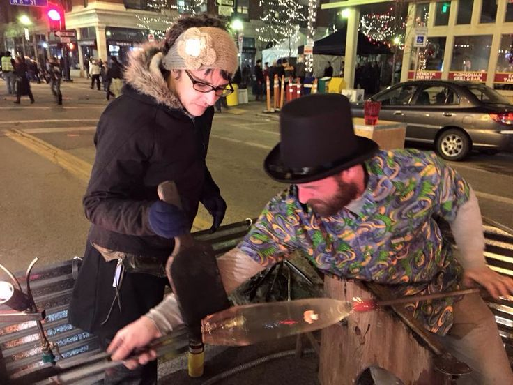 Blowing glass outside at the Idaho potato drop New Year's Eve 2014