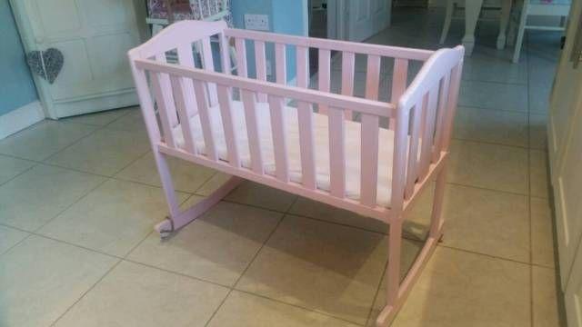 Shabby chic baby girls light pink wooden rocking crib cot
