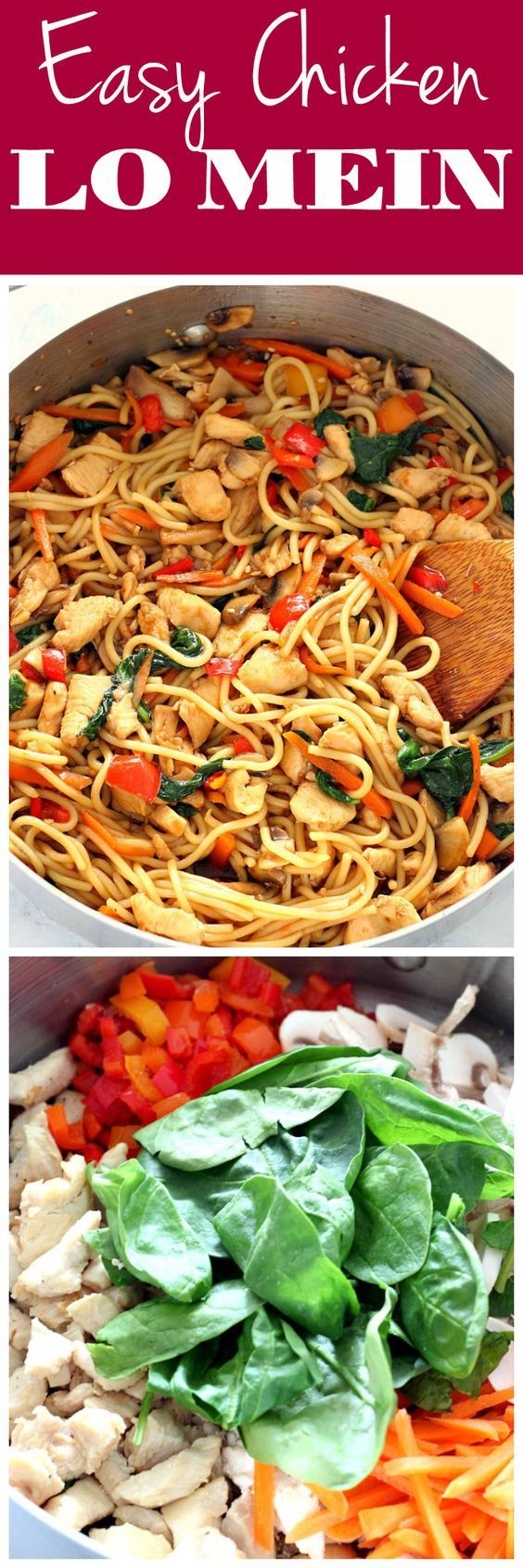 Easy Chicken Lo Mein Recipe - quick and easy homemade chicken, vegetables and noodles dish with teriyaki sauce.