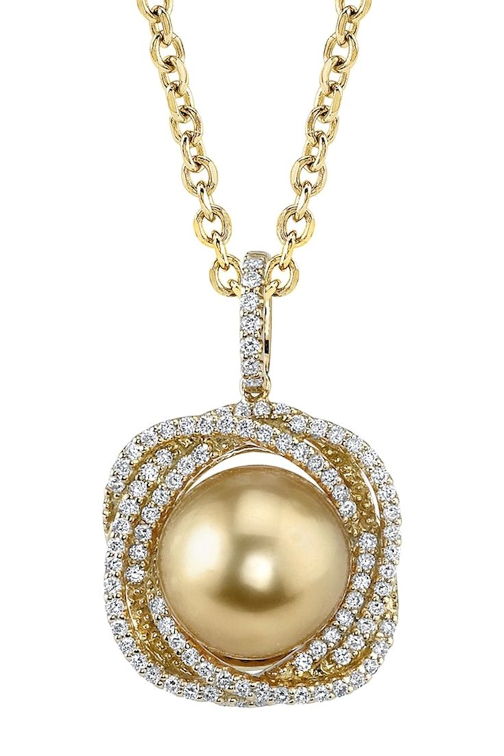 winterson pendant grey in tahitian diamond with pearl chain gold and white