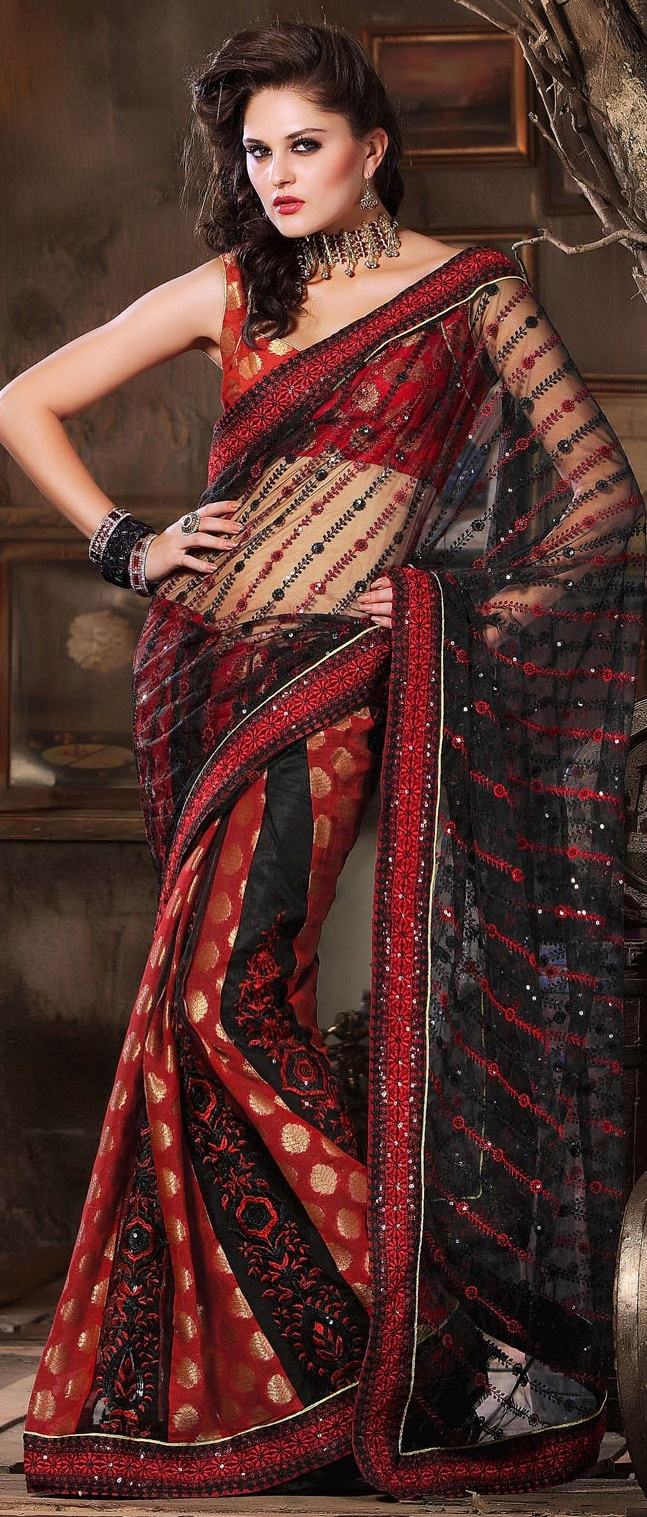 #Black and #Red Net #Saree with #Blouse @ $75.00   Shop @ http://www.utsavfashion.com/store/sarees-large.aspx?icode=skk14039