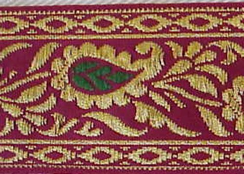 Metallic, Jacquard Trim. Gold Leaves on Fuchsia