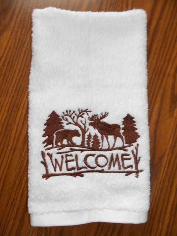 Welcome Moose Towel Sets Guest Towel Set Welcome by Crafting4Caleb